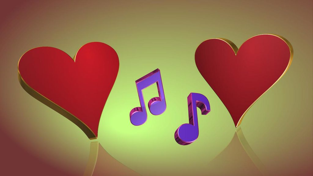 hearts and music notes
